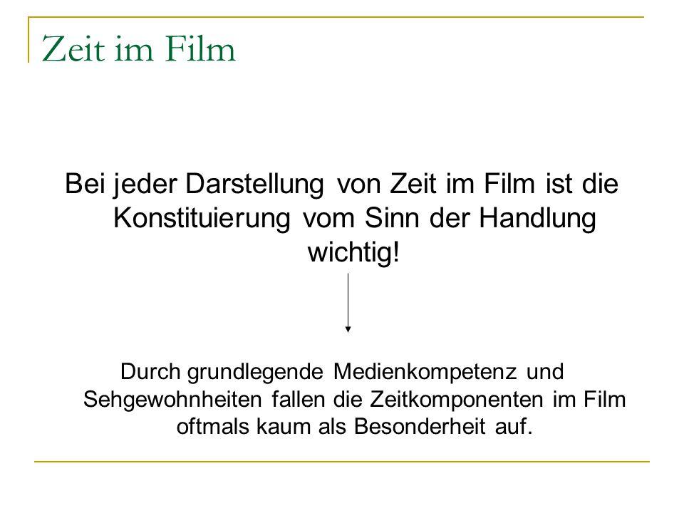 Zeit im Film Bei jeder Darstellung von Zeit im Film ist die Konstituierung vom Sinn der Handlung wichtig!