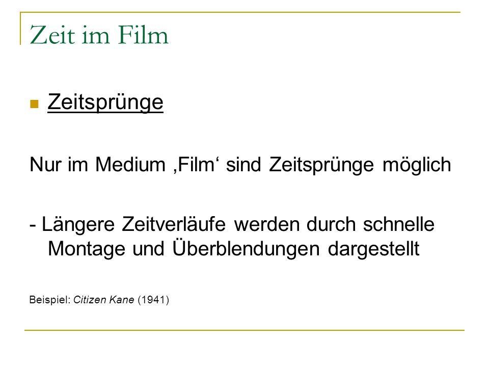 Zeit im Film Zeitsprünge Nur im Medium 'Film' sind Zeitsprünge möglich