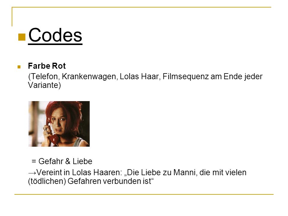 Codes = Gefahr & Liebe Farbe Rot