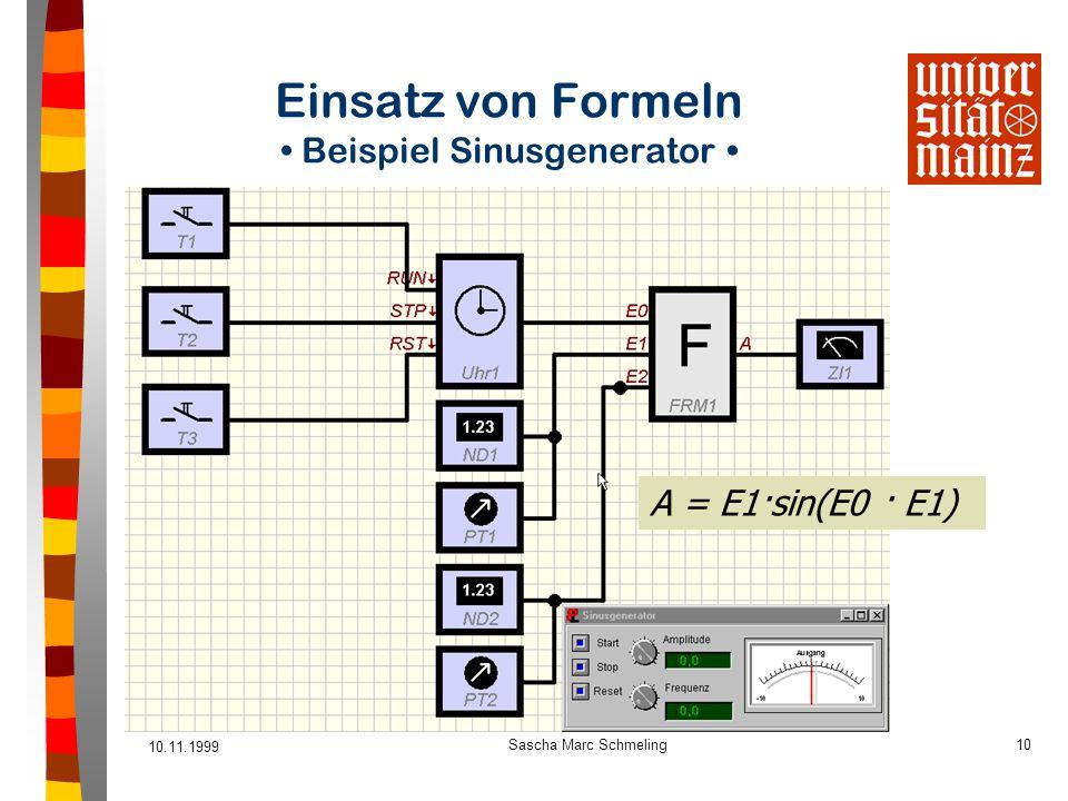 Einsatz von Formeln • Beispiel Sinusgenerator •