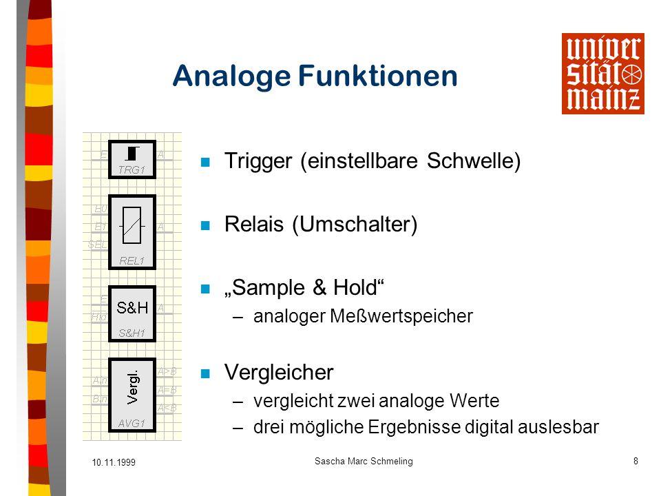 Analoge Funktionen Trigger (einstellbare Schwelle) Relais (Umschalter)