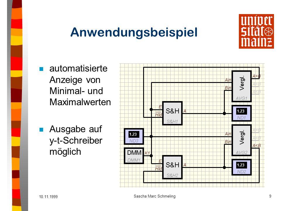 Anwendungsbeispiel automatisierte Anzeige von Minimal- und Maximalwerten. Ausgabe auf y-t-Schreiber möglich.