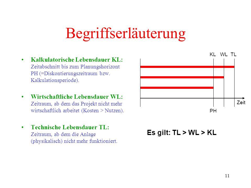 Begriffserläuterung Es gilt: TL > WL > KL