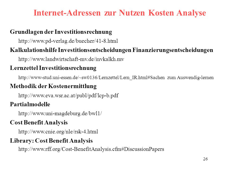 Internet-Adressen zur Nutzen Kosten Analyse