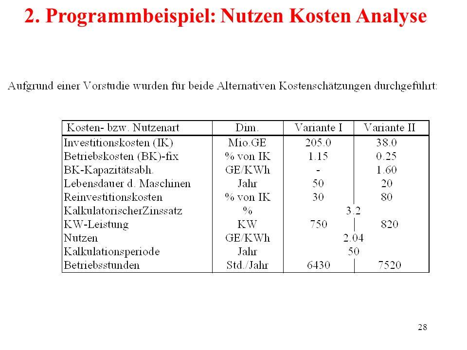 2. Programmbeispiel: Nutzen Kosten Analyse