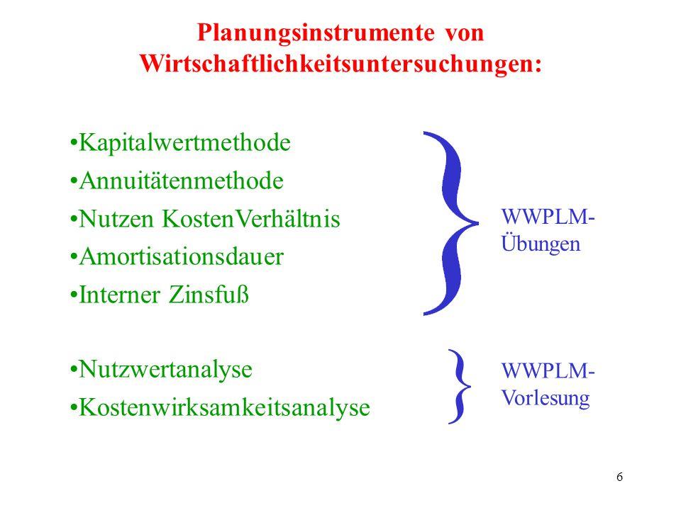 Planungsinstrumente von Wirtschaftlichkeitsuntersuchungen: