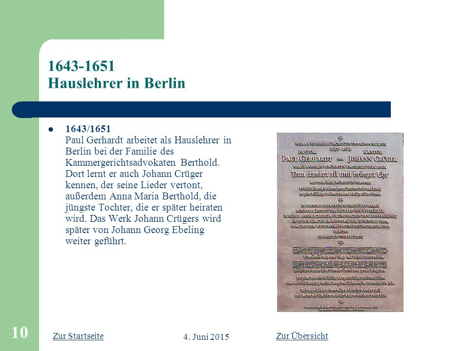 1643-1651 Hauslehrer in Berlin