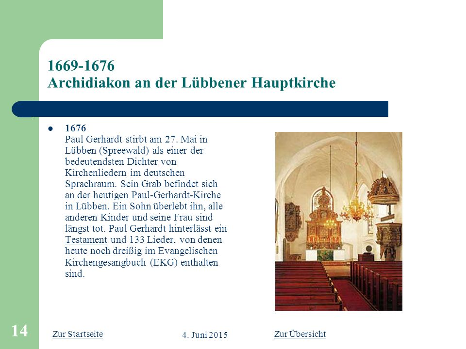 1669-1676 Archidiakon an der Lübbener Hauptkirche