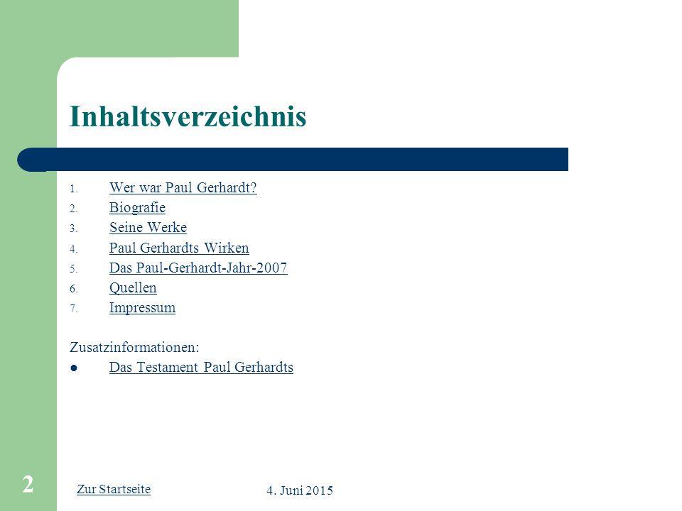 Inhaltsverzeichnis Wer war Paul Gerhardt Biografie Seine Werke