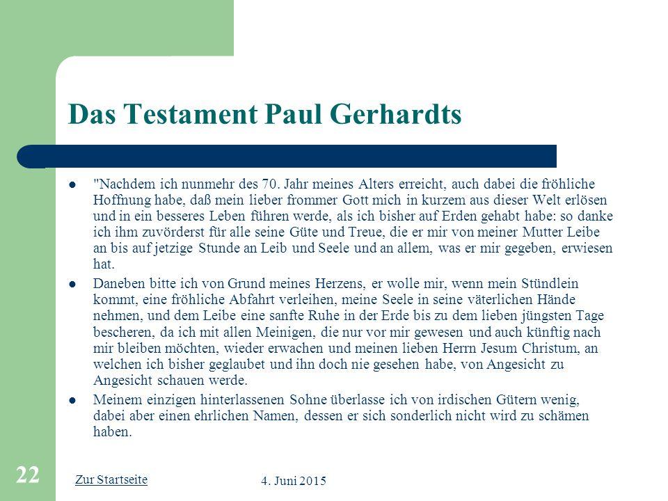 Das Testament Paul Gerhardts