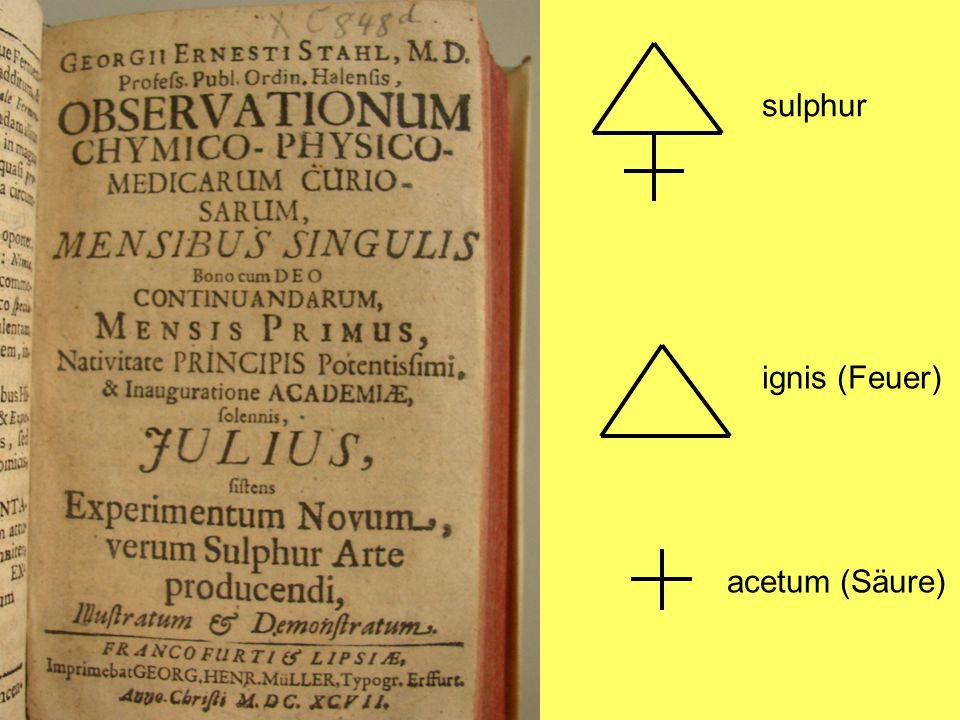 sulphur ignis (Feuer) acetum (Säure)