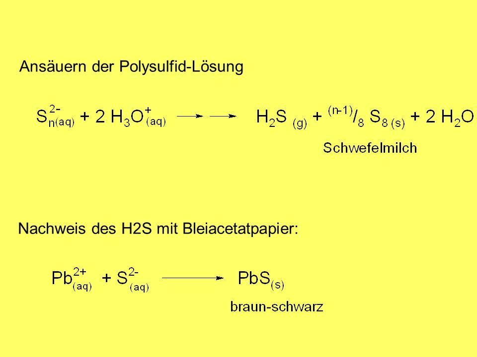 Ansäuern der Polysulfid-Lösung