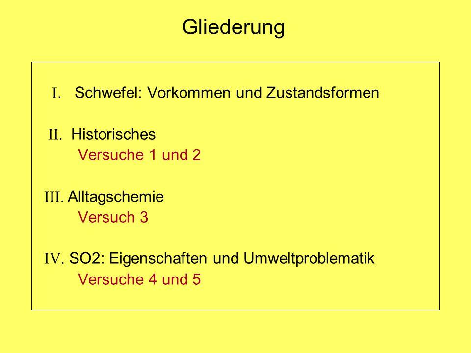 Gliederung I. Schwefel: Vorkommen und Zustandsformen II. Historisches