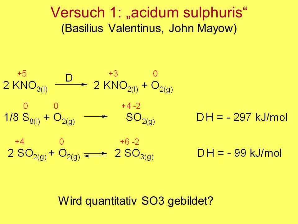"""Versuch 1: """"acidum sulphuris (Basilius Valentinus, John Mayow)"""