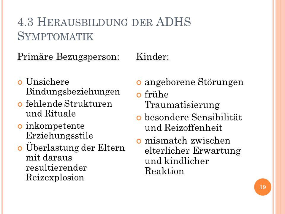 4.3 Herausbildung der ADHS Symptomatik