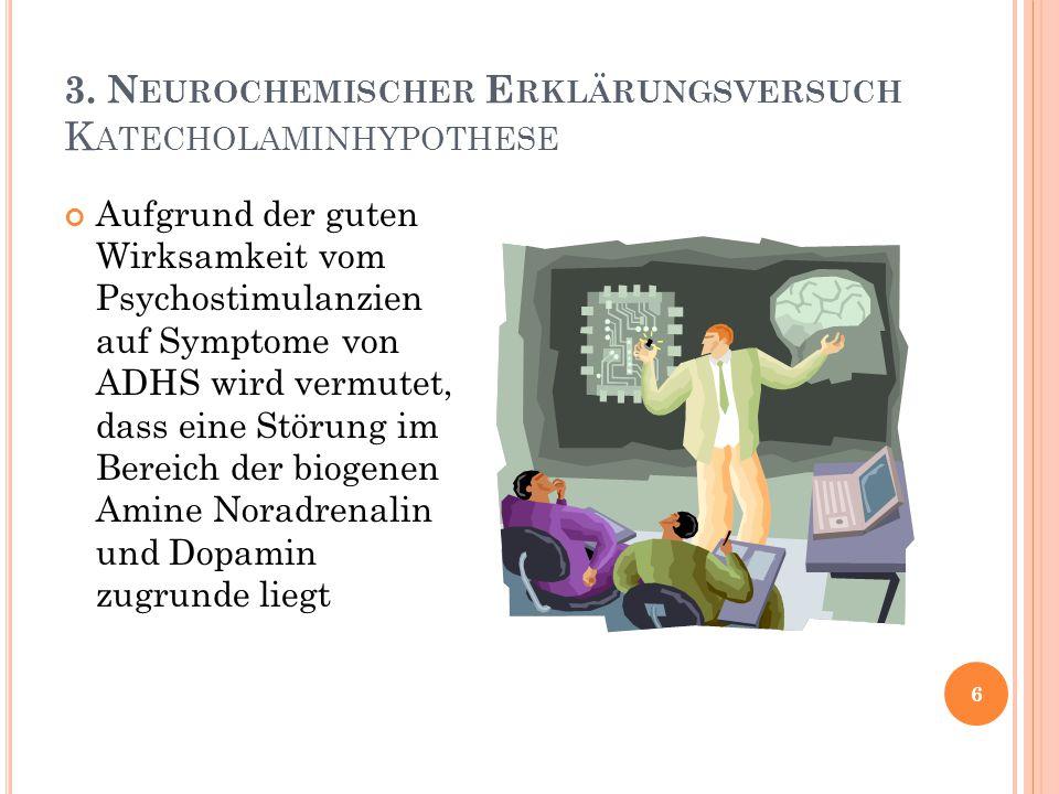 3. Neurochemischer Erklärungsversuch Katecholaminhypothese