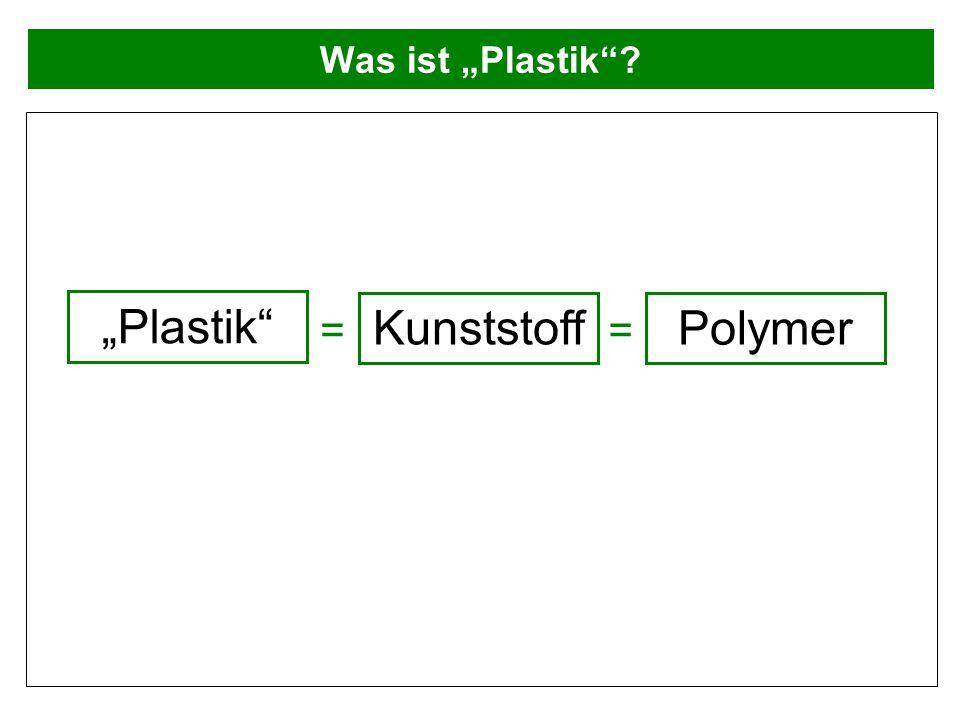 """Was ist """"Plastik """"Plastik Kunststoff = = Polymer"""