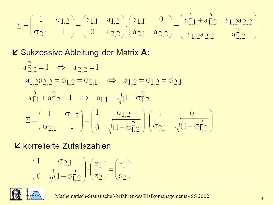  Sukzessive Ableitung der Matrix A: