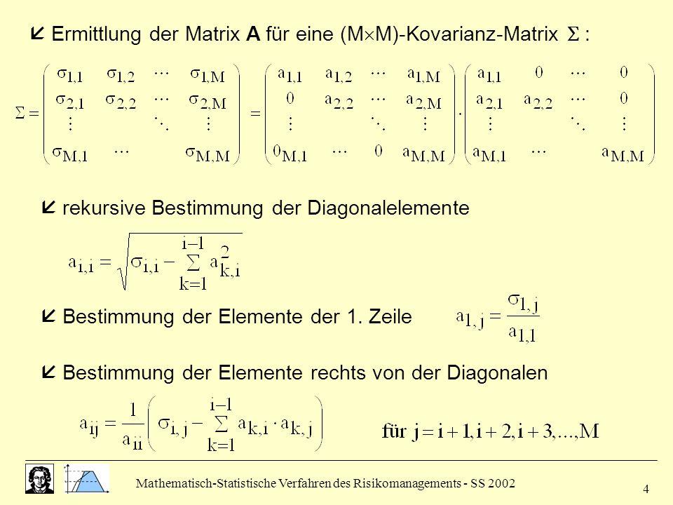  Ermittlung der Matrix A für eine (MM)-Kovarianz-Matrix  :