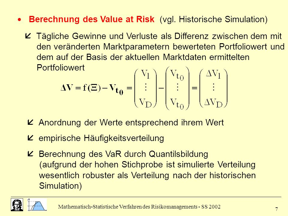  Berechnung des Value at Risk (vgl. Historische Simulation)