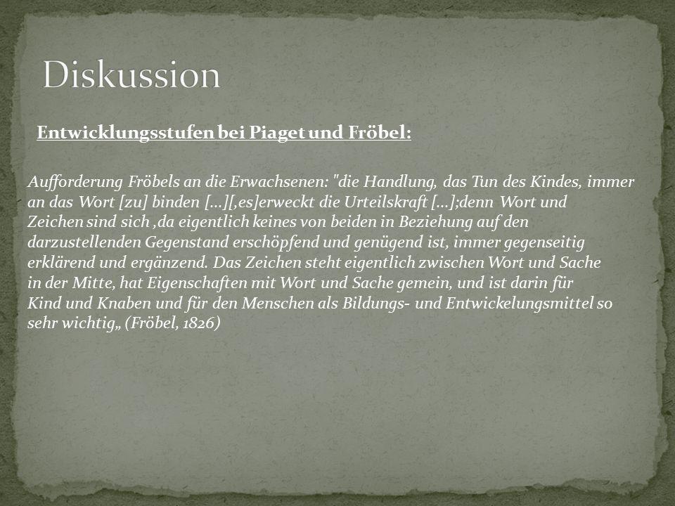Diskussion Entwicklungsstufen bei Piaget und Fröbel: