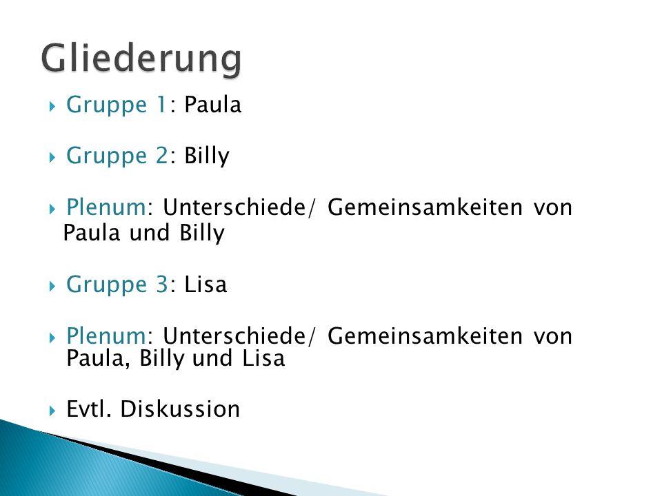 Gliederung Gruppe 1: Paula Gruppe 2: Billy