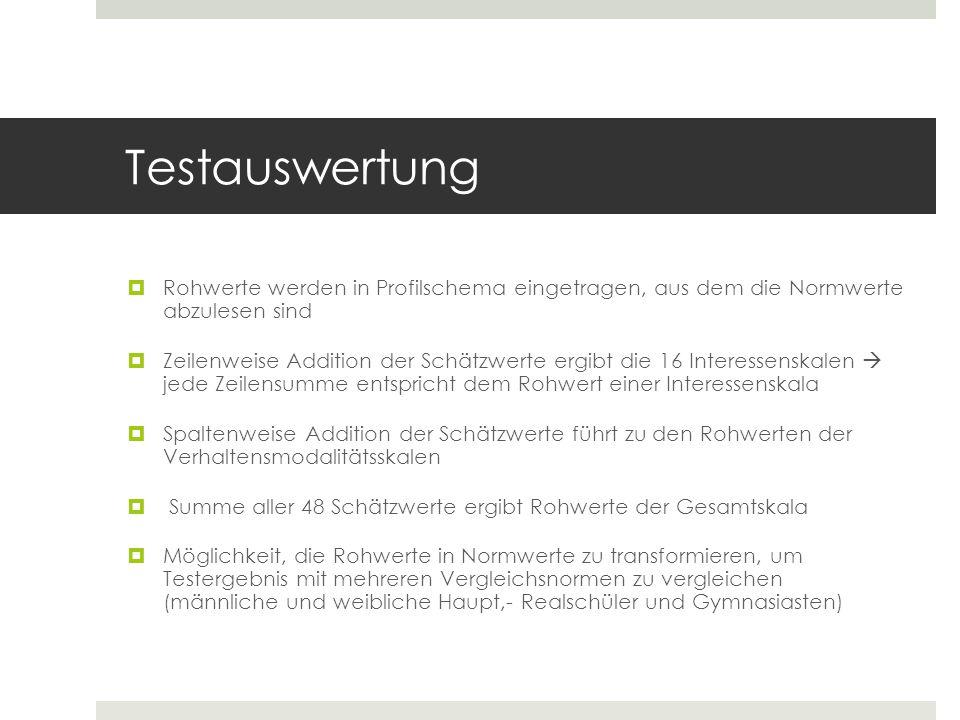 Testauswertung Rohwerte werden in Profilschema eingetragen, aus dem die Normwerte abzulesen sind.