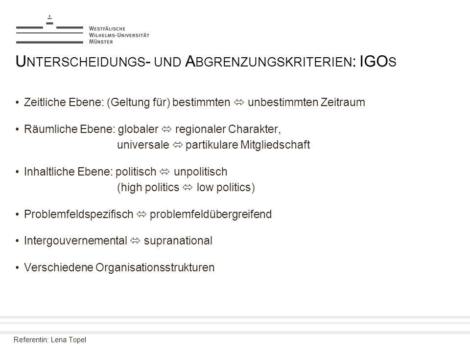 Unterscheidungs- und Abgrenzungskriterien: IGOs