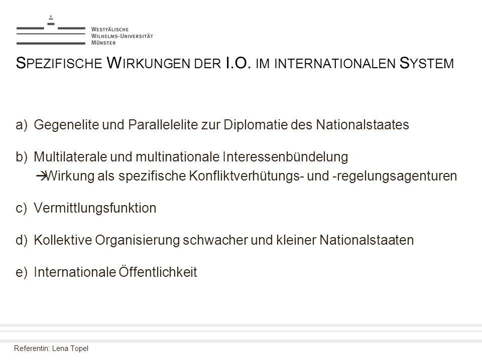 Spezifische Wirkungen der I.O. im internationalen System
