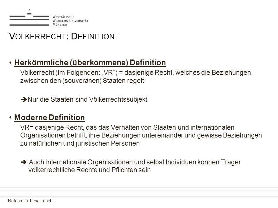 Völkerrecht: Definition