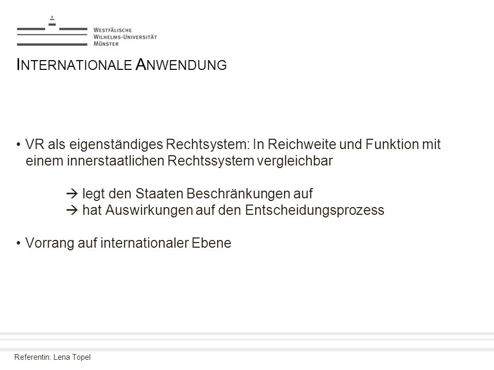 Internationale Anwendung