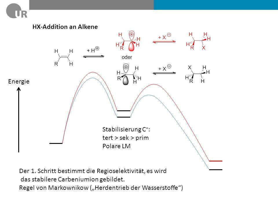 HX-Addition an Alkene Energie. Stabilisierung C+: tert > sek > prim. Polare LM. Der 1. Schritt bestimmt die Regioselektivität, es wird.