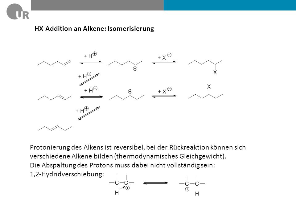 HX-Addition an Alkene: Isomerisierung