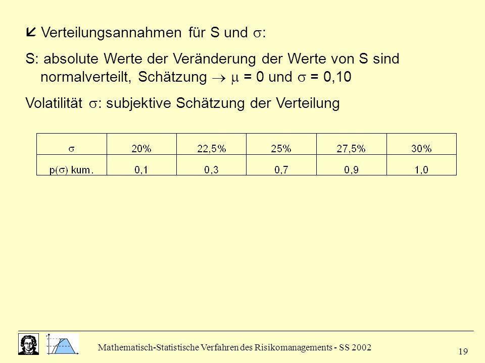  Verteilungsannahmen für S und :
