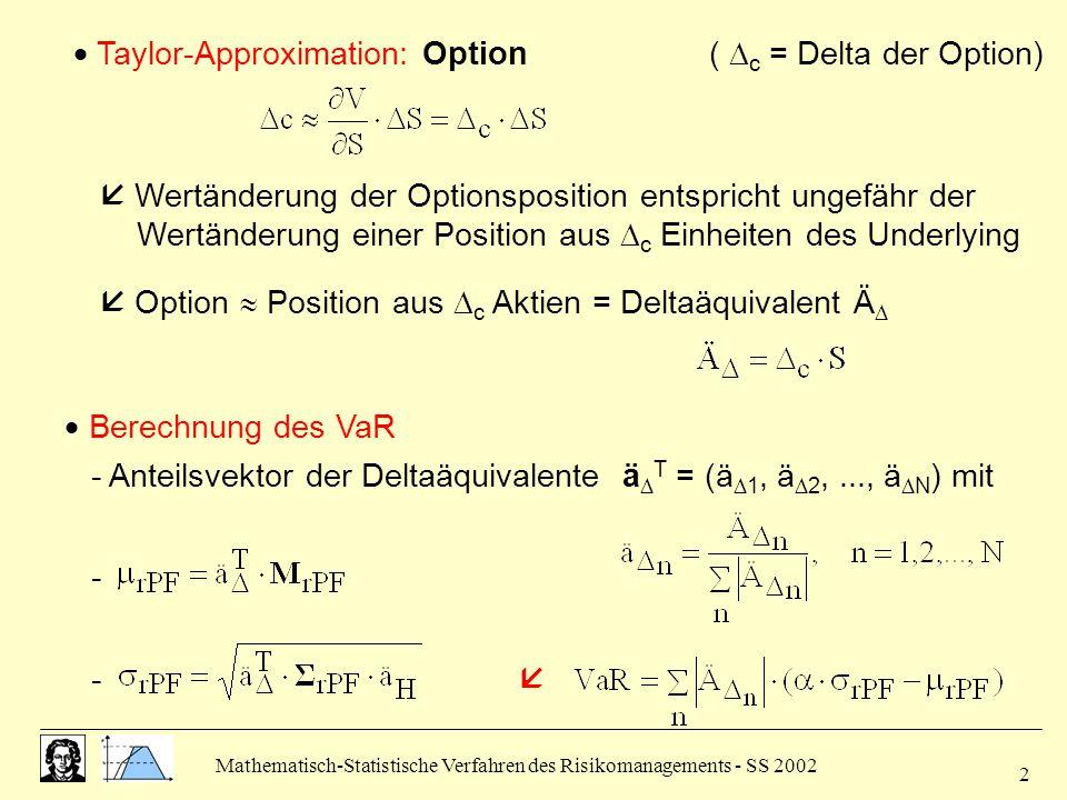  Taylor-Approximation: Option ( c = Delta der Option)