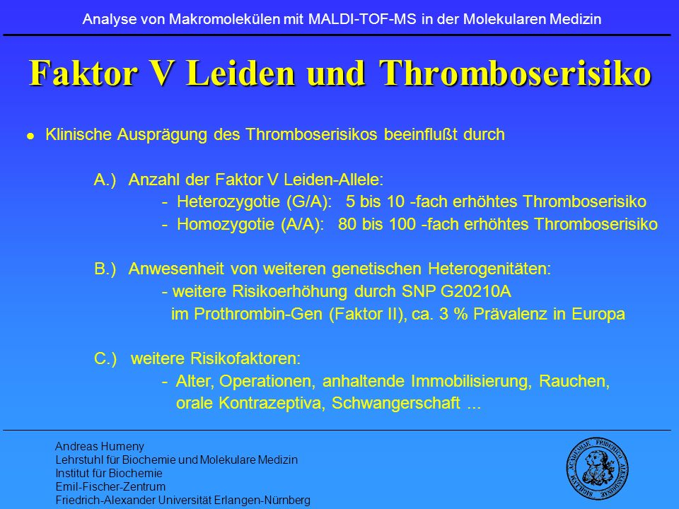Faktor V Leiden und Thromboserisiko