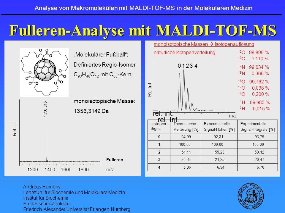 Fulleren-Analyse mit MALDI-TOF-MS