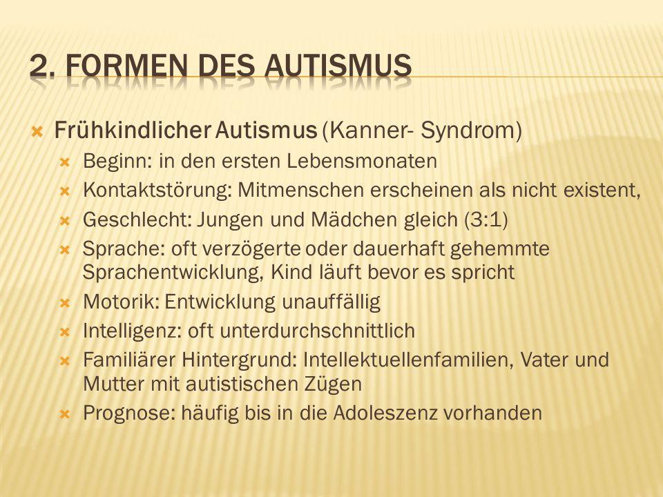 2. Formen des Autismus Frühkindlicher Autismus (Kanner- Syndrom)