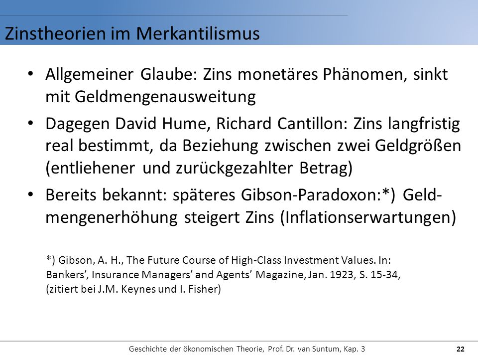 Zinstheorien im Merkantilismus