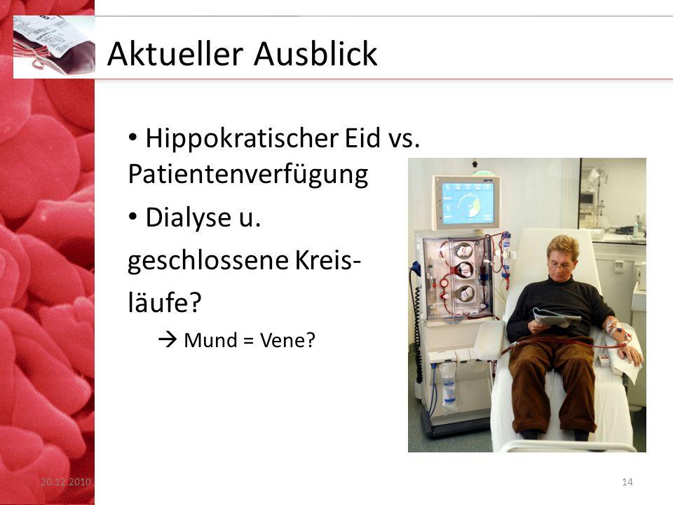 Aktueller Ausblick Hippokratischer Eid vs. Patientenverfügung