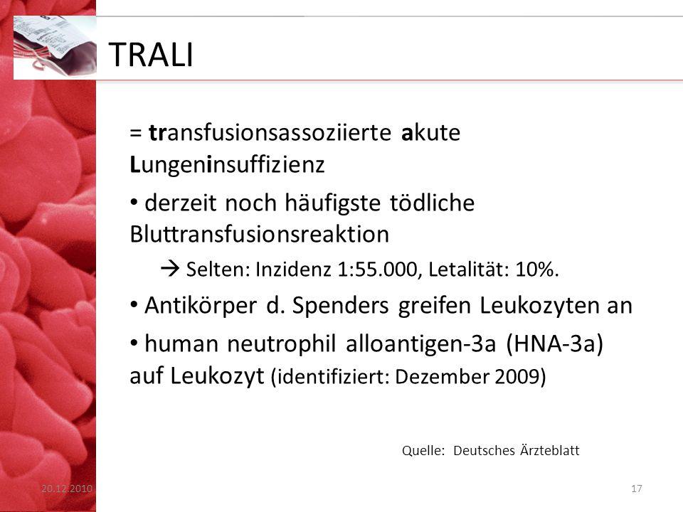 TRALI = transfusionsassoziierte akute Lungeninsuffizienz