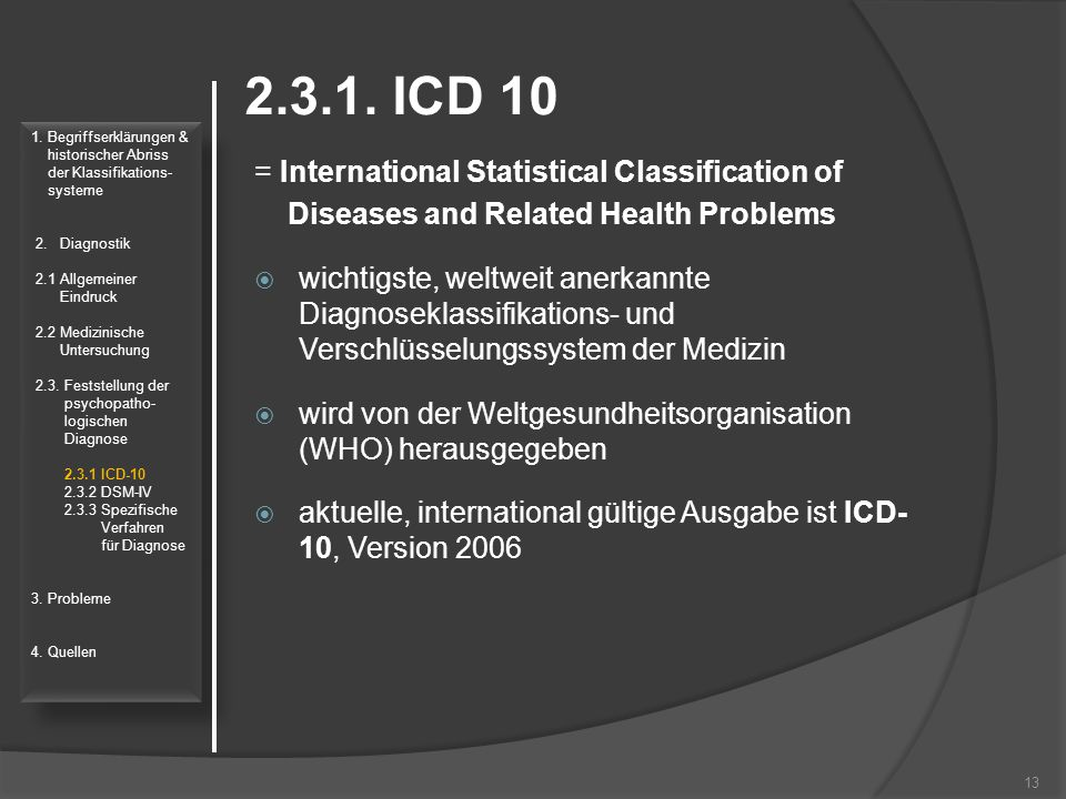 2.3.1. ICD 10 = International Statistical Classification of