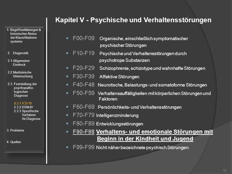 Kapitel V - Psychische und Verhaltensstörungen