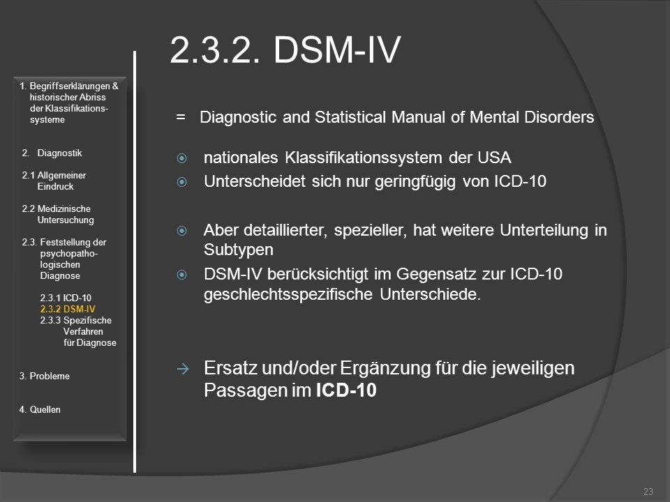 2.3.2. DSM-IV 1. Begriffserklärungen & historischer Abriss. der Klassifikations- systeme. 2. Diagnostik.