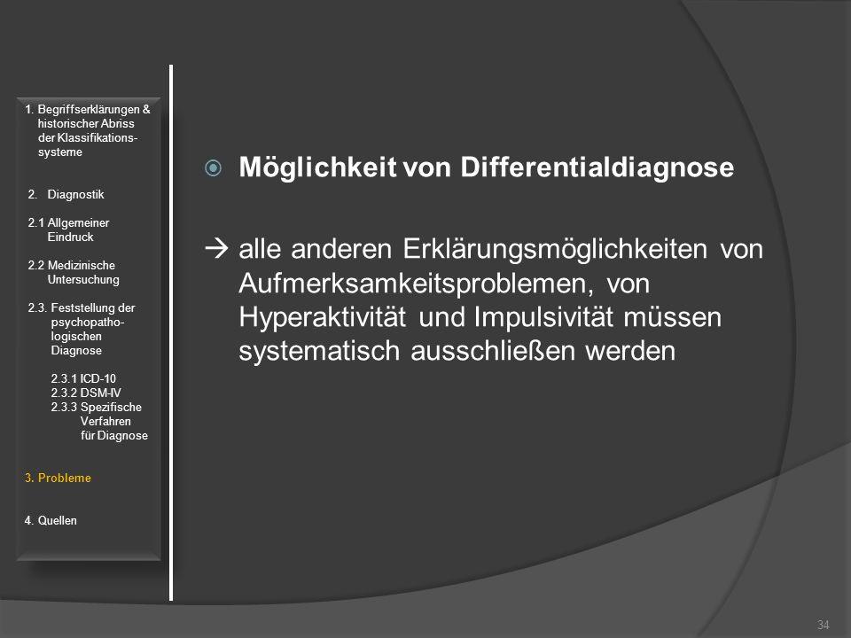 Möglichkeit von Differentialdiagnose