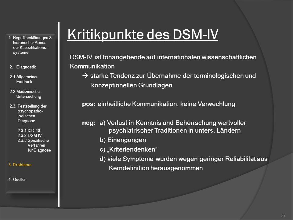 Kritikpunkte des DSM-IV