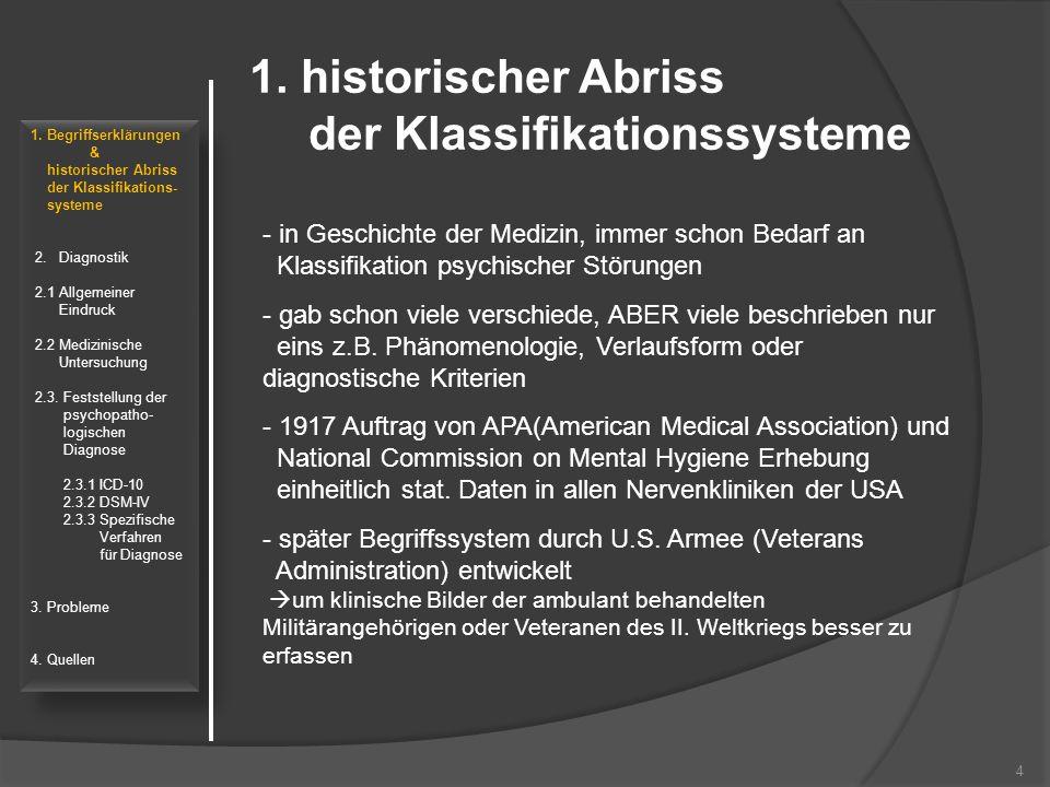 1. historischer Abriss der Klassifikationssysteme