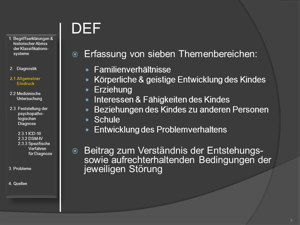 DEF Erfassung von sieben Themenbereichen: