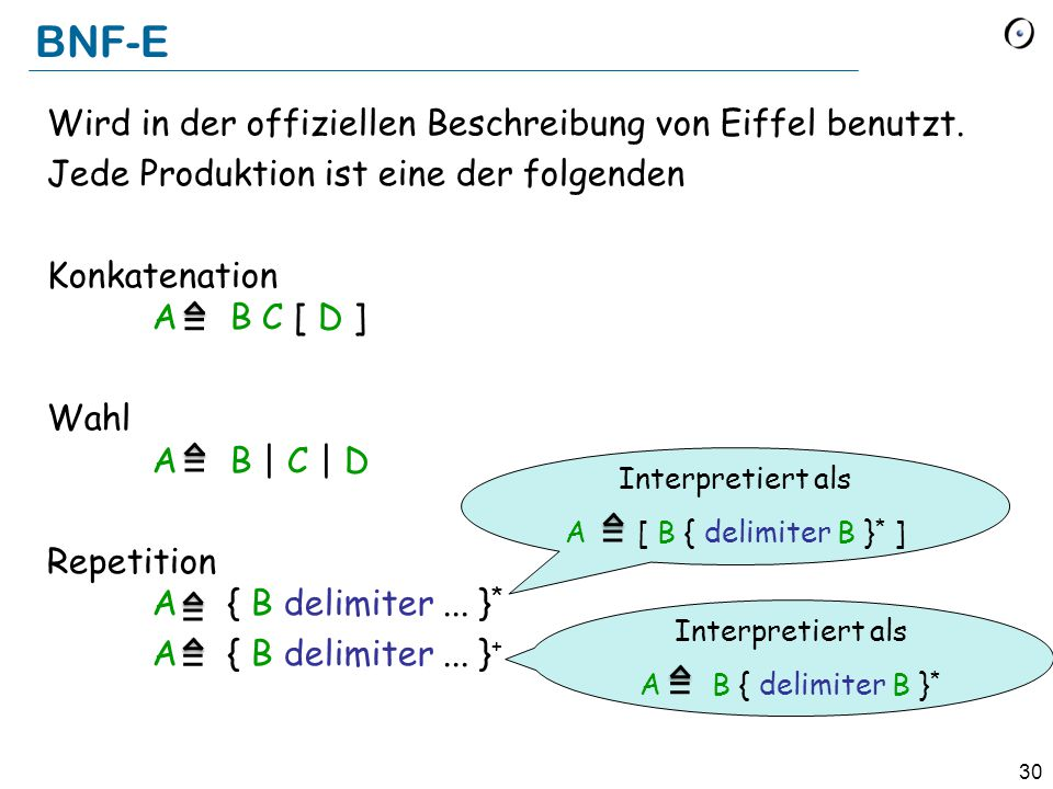 BNF-E Wird in der offiziellen Beschreibung von Eiffel benutzt. Jede Produktion ist eine der folgenden.
