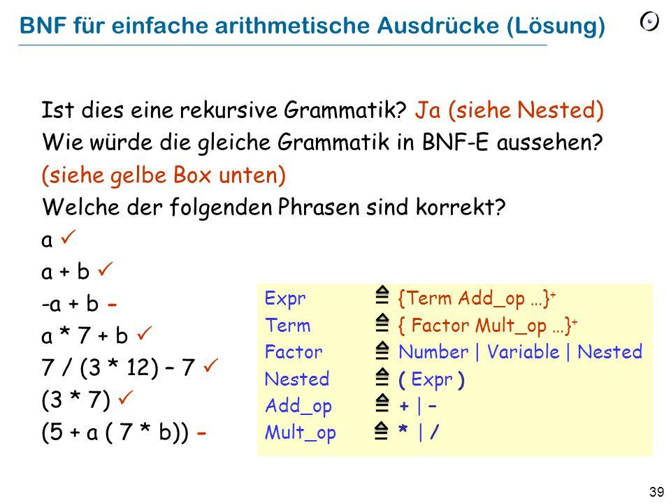 BNF für einfache arithmetische Ausdrücke (Lösung)